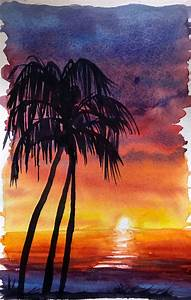 Image Gallery watercolor sunset