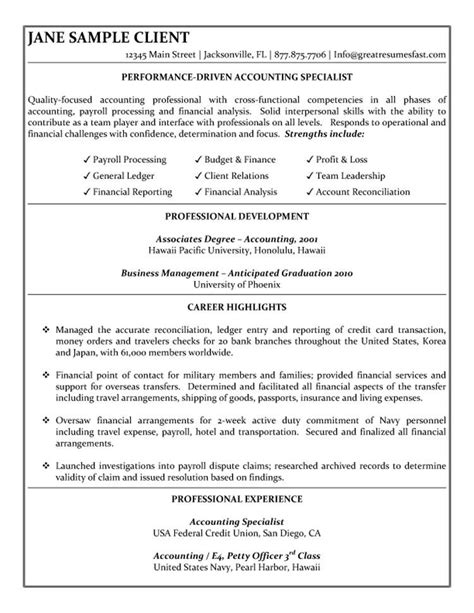 Returning To Work Resume Objectives by Accounting Specialist Resume