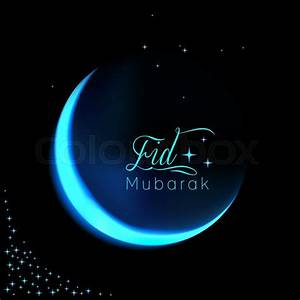 Eid Mubarak background with shiny moon and stars Stock