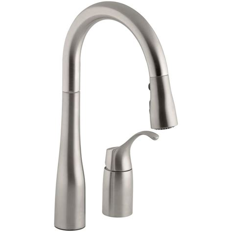 kohler simplice kitchen faucet kohler simplice single handle pull down sprayer kitchen faucet in vibrant stainless k 649 vs