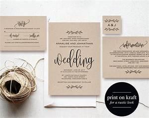 kraft wedding invitation printable rustic invitation set With wedding invitations less than 1