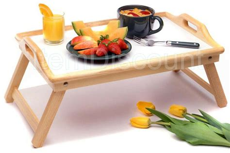 Wood Breakfast Bed Food Serving Hospital Tray Handles