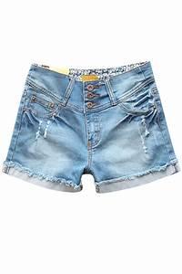 Jeans And Light Blue Shirt Light Blue High Waist Distressed Denim Shorts 011235