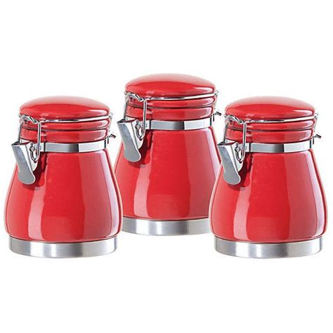 Shop for ceramic canister sets at walmart.com. 3-Pc Mini Canister Set, Red ($9) liked on Polyvore featuring home, kitchen & dining, food sto ...