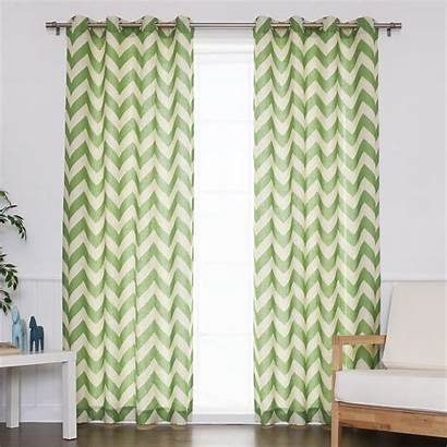 Linen Grommet Curtains Chevron Stripe Curtain Window