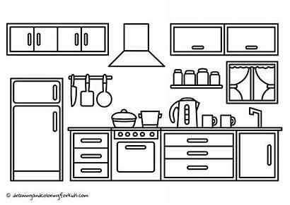 Coloring Kitchen Drawing Cabinets Zapisano Youtu