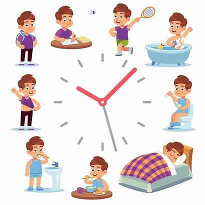 Routine Daily Schedule Boy Morning Happy Cartoon