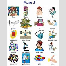 Another Vocabulary List Of Health Terms With Pictoral Support Good For Newcomers And Low