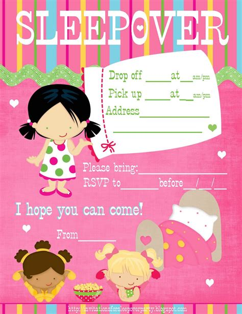 Free Printable Girl Birthday Sleep Over Invitation