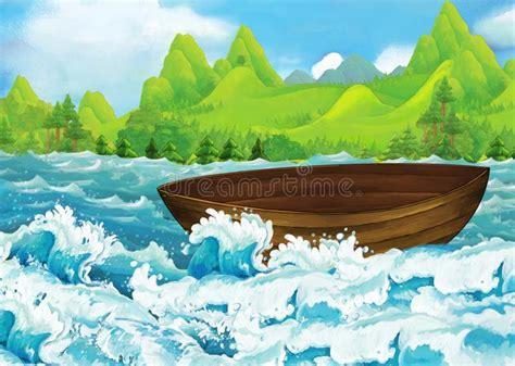 Cartoon boat and beach stock illustration. Illustration of ...