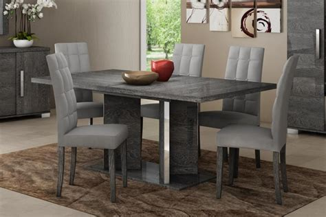 dining table with grey chairs modern venicia collection extending dining table in grey