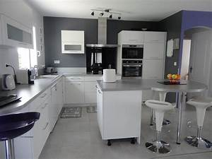 cuisine moderne grise et blanche galerie et cuisine With couleur mur cuisine grise