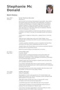 technical recruiter resume sles visualcv resume