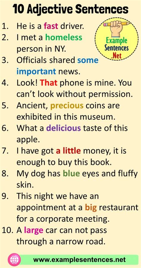 adjective examples  sentences  sentences