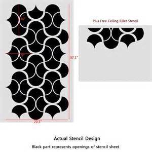 How To Remove Ceiling Wallpaper by Large Modern Wall Stencil Geometric Pattern For Easy Diy