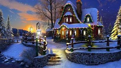 Scenes Christmas Snow Desktop Cottage Winter Scene