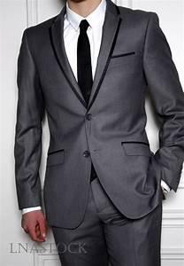 Costume Pour Homme Mariage : costume mariage slim fit gris bord noir sur lnastock costume mariage pour homme sur lnastock ~ Melissatoandfro.com Idées de Décoration