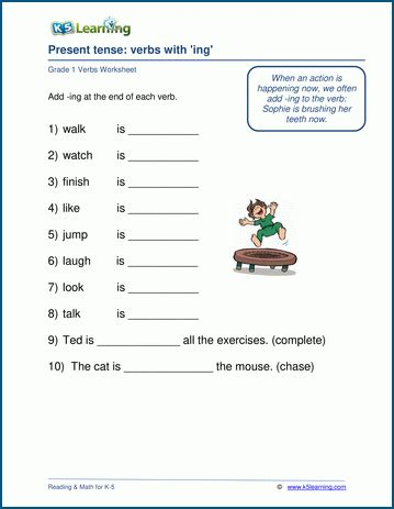 verbs   ing worksheet  learning