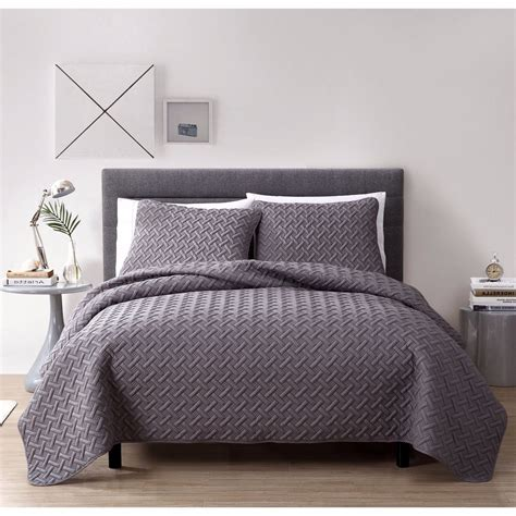 Grey King Coverlet by New King Size Bed Gray Grey 3pc Quilt
