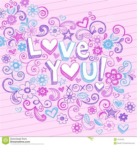 Hand Drawn Abstract Sketchy Love You Doodles Stock Photos   Image: 13165783