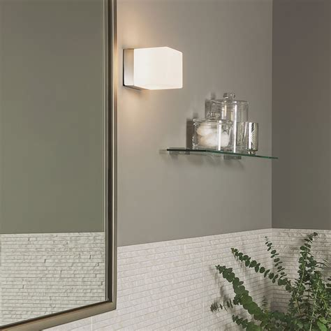 astro cube polished chrome and white glass bathroom wall
