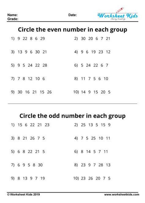 odd   numbers worksheets  printable