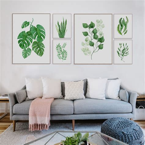 1pc Tropical Plant Art Print Poster Nordic Green Leaf Wall