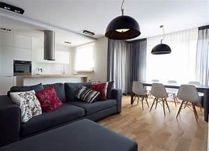 Schwarze Möbel Welche Wandfarbe : modernes wohnzimmer mit dunklem sofa einrichten 55 ideen ~ Bigdaddyawards.com Haus und Dekorationen