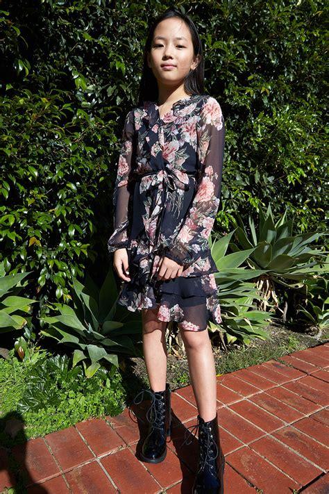 Tween Girl Cassidy Wrap Dress In Mood Bloom