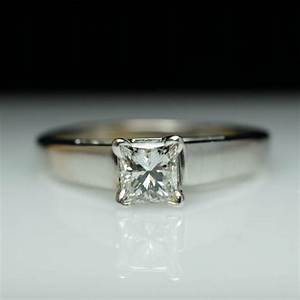 Princess cut diamond engagement ring solitaire engagement for Simple princess cut wedding rings