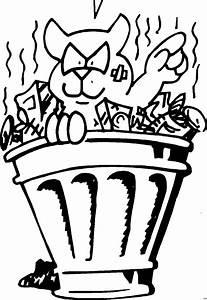 Katze Im Muelleimer Ausmalbild Malvorlage Comics