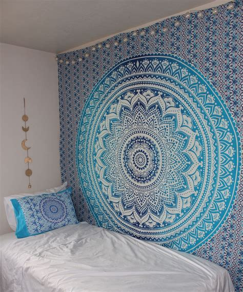 elephant rug blue multi indian ombre mandala wall tapestry hippie