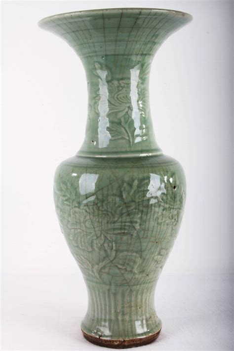 chinese ming styled longquan kilns flower vase