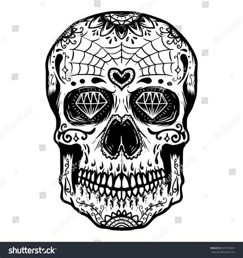 Hand Drawn Sugar Skull Isolated Stock Vector