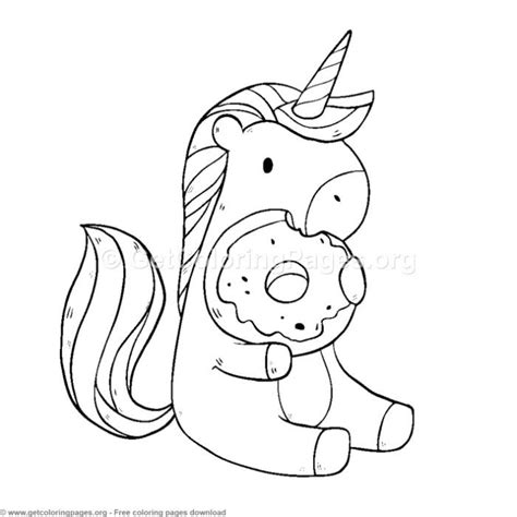 cute unicorn eating donuts coloring pages  instant