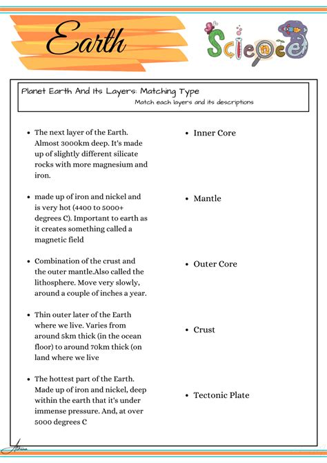 grade  science worksheets earth science education ph