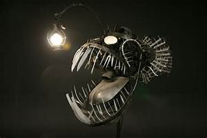 Terrifying deep sea angler lamp made from recycled objects for Terrifying deep sea angler lamp made from recycled objects
