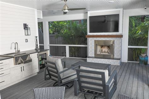 outdoor kitchen wet bar fireplace  south tampa