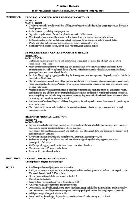 Support Assistant Resume Sle by Research Program Assistant Resume Sles Velvet