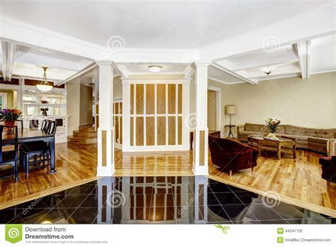Luxury Interior. Foyer With Black Shiny Tile Floor