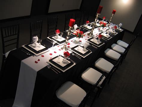 black and white dinner table setting red black and white wedding reference for wedding decoration