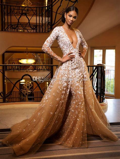 long sleeves zuhair murad evening dresses sexy deep  neck