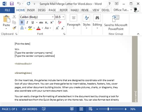 sample mail merge letter  word