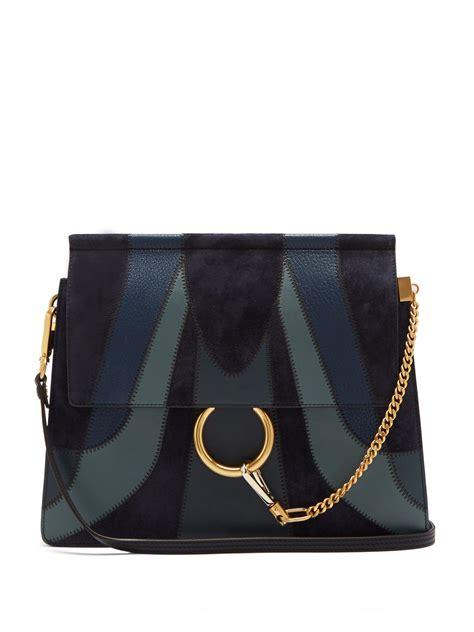 lyst chloe faye medium patchwork leather shoulder bag