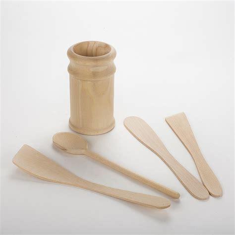 ustensile de cuisine en bois ustensiles de cuisines en bois brut non traité avec pot