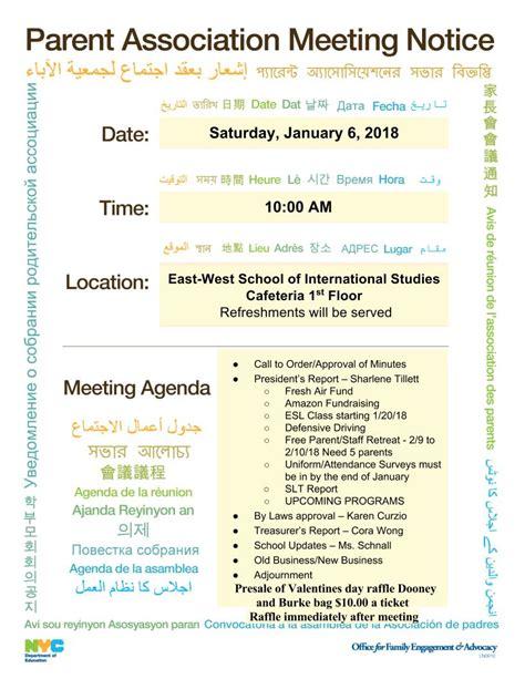 news  meeting announcements east west school