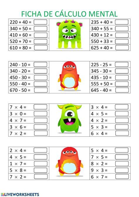 Retos mentales ejercicio matematico 10 youtube from i.ytimg.com. Calculo mental ficha interactiva y descargable. Puedes ...