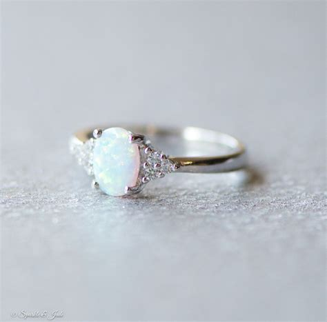 white opal and cz accented sterling silver ring jewelry