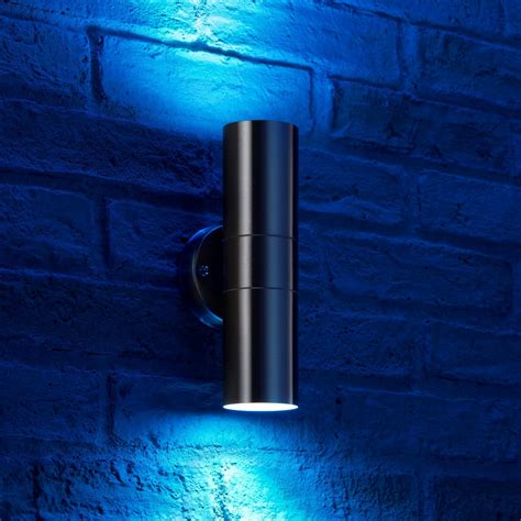 auraglow stainless steel up down colour changing outdoor