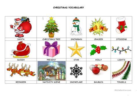 christmas vocabulary worksheet  esl printable